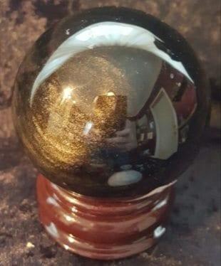 60 mm gold sheen obsidian ball